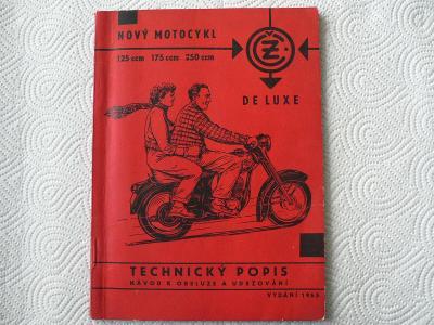 Manuál motocykly ČZ 125, 175,250 ccm/rok 1965 - originál