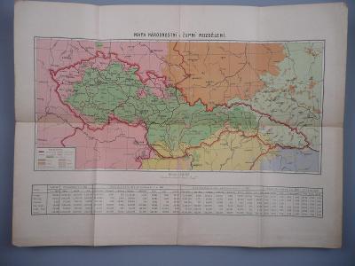 ČSR - Mapa - Národnostní a župní rozdělení 1922 - Údaje o obyvatelstvu