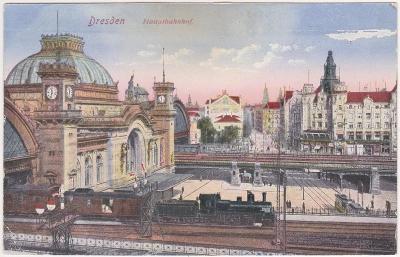 Německo - Drážďany, Dresden (nádraží, doprava) 1914