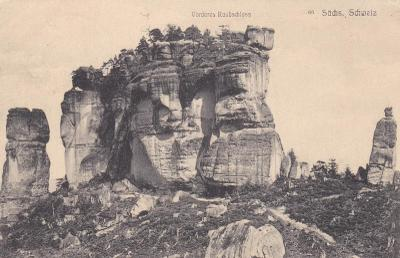 Německo, Saské Švýcarsko, Vorderes Raubschloss - prošlá 1912