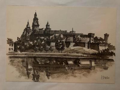Akvarel Krakow - Wawel v paspartě A4