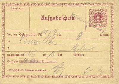 RAKOUSKO - podací lístek na telegram, dv, málo k vidění