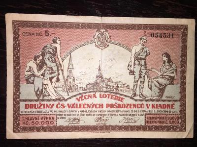 LOS-VĚCNÁ LOTERIE ČS. VÁLEČNÝCH POŠKOZENCŮ, KLADNO, 1923