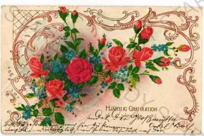 Růže koláž DA plastická karta