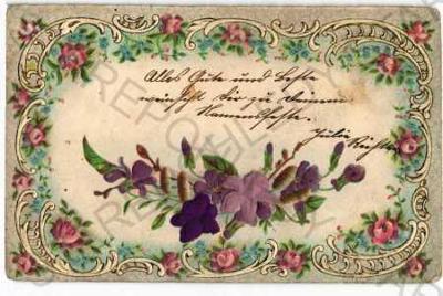 Květiny koláž plastická karta DA