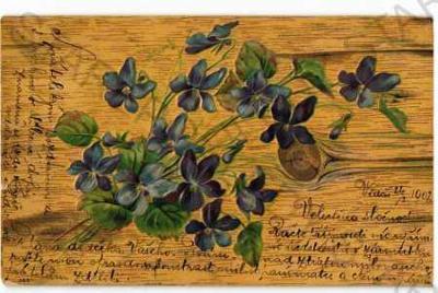 Modré květiny DA plastická karta
