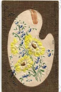Květiny paleta se štětci koláž plastická karta kol