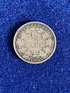 Stříbrná mince - Deutsches reich - 1/2 Mark - 1906