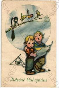 Děti ptáci koláž Salač