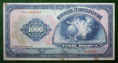 ČESKOSLOVENSKO 1000 KORUN 1939
