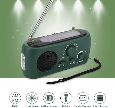Outdoor přenosné FM rádio, svítilna, solární dobíjecí panel, powerbank