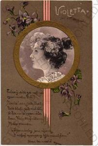 Žena koláž portrét květina zlacená plastická karta