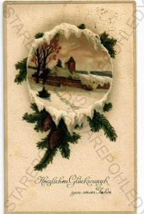 Přání zimní krajina koláž plastická karta