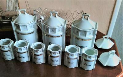 Prodám keramické kořenky / nekompletní sada / bílé - zlatý proužek -