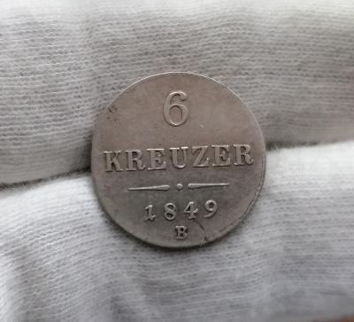 6 krejcar 1849 B, mincovna Kremnice, VELMI VZÁCNÝ A HLEDANÝ!!