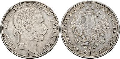 2 zlatník 1866 A velmi vzácný, nepatrná stopa na hraně !!