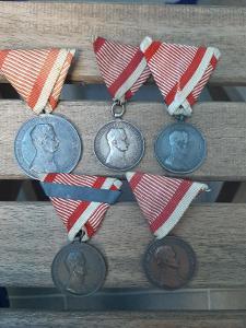 MONETA NOVA - RU - Súbor 5x medaila Za statočnosť Karol 1916-1918