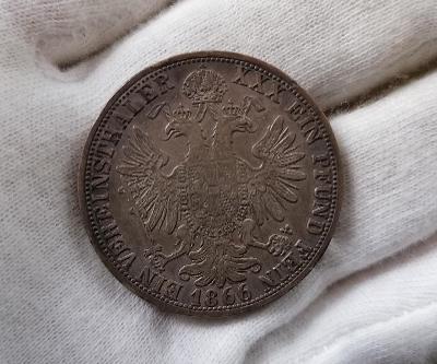 1 tolar 1866 A, mincovna Vídeň, FJI, KRÁSNÁ PATINA, VZÁCNÝ!