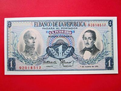 162* 1Peso - 1973 - P#404e - Kolumbie - UNC!