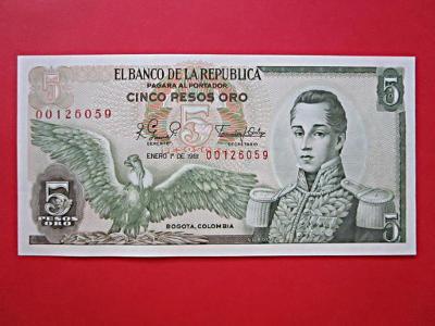 163* 5Pesos - 1981 - P#406f - Kolumbie - UNC!
