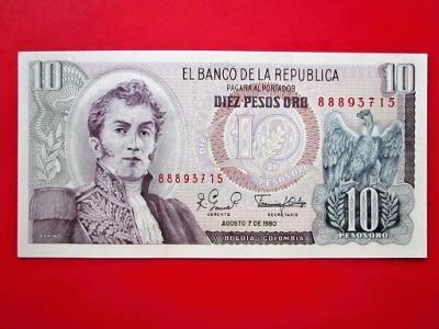 164* 10Pesos - 1980 - P#407g - Kolumbie - UNC!