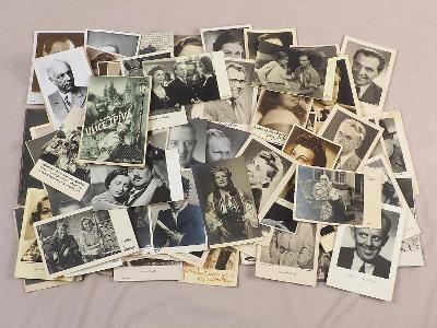 SBÍRKA FOTOGRAFIÍ PRVOREPUBLIKOVÝCH HERCŮ 95 ks - NĚKTERÉ S PODPISEM