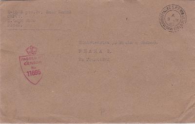 Velká Británie, českosl. polní pošta, 1. tankový sbor Plzeň 9.7.1945