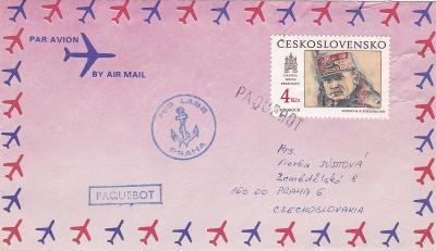 Československá námořní plavba, lodní pošta M/S Labe, Francie,