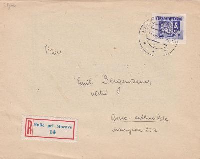 Slovensko,R- Holíč nad Moravou 11.8.1945,ještě slovenský podací lístek