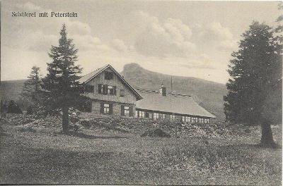 Schäferei mit Peterstein - Altvatergebirge , Jeseníky , Ovčárna