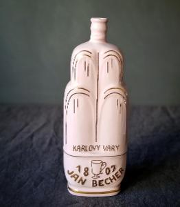 Růžový porcelán lahev na Becherovku. Viktora.  Top stav