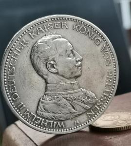 Pruská 5 Marka 1913 A. Císař v uniformě.
