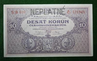 ČESKOSLOVENSKO 10 KORUN 1927 TOP STAV