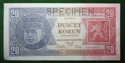 ČESKOSLOVENSKO 20 KORUN 1926 TOP STAV