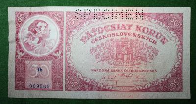 ČESKOSLOVENSKO 50 KORUN 1929 TOP STAV