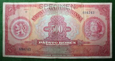 ČESKOSLOVENSKO 500 KORUN 1929