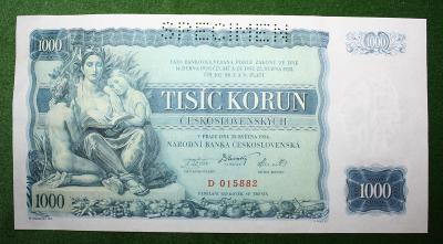 ČESKOSLOVENSKO 1000 KORUN 1934 TOP STAV
