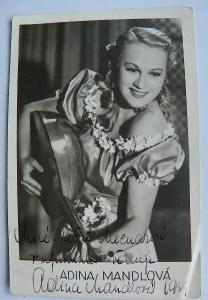 ADINA MANDLOVÁ - PODPIS A VĚNOVÁNÍ - Fotografie s autogramem - viz fot