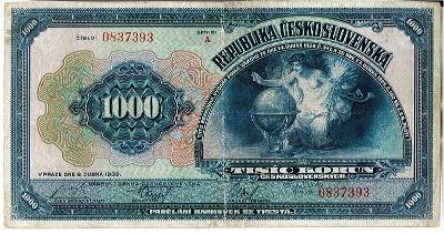 1000 Kč 1932 Neperforovaná série A