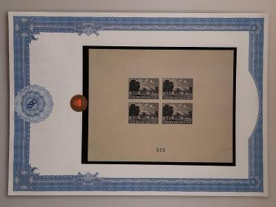 ČaM č.PrA1b Aršík Terezín černý č. 572 certifikát Beneš - velmi VZÁCNÉ