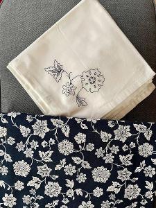 Nový velký ubrus + 6 ubrousků, 100% bavlna s nešpinavou úpravou