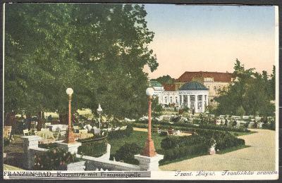 Františkovy Lázně ca 1920 park Františkův pramen, kolorováno němčina