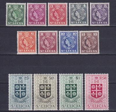britská Sv. Lucia 1953/54 ** Alžbeta II komplet mi. 146-158