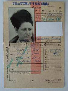 Průkazka na autobus ČSAD - 1987 Pardubice <--> Chrudim /legitimace/