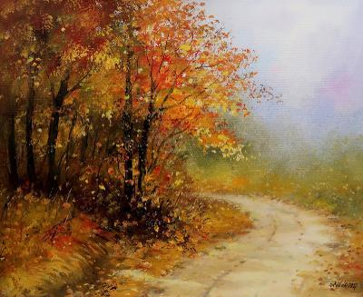 Podzimní den - orig. akryl 50x40 cm