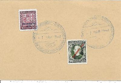 Lístek pamětní razítka československá polní pošta