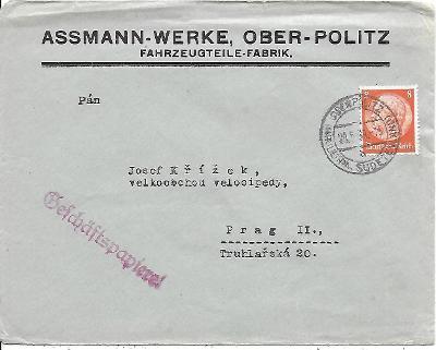 Firemní obálka Horní Police známka Deutsches reich