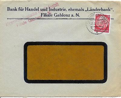 Firemní obálka Jablonec nad Nisou známka Deutsches reich
