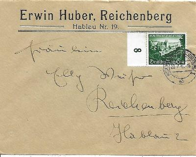 Firemní obálka Liberec známka Deutsches reich