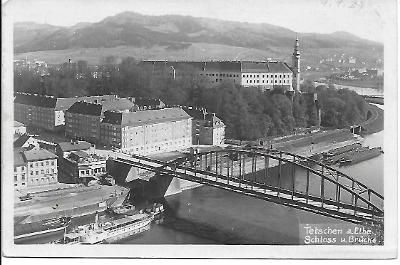 Pohled Děčín známka Deutsches reich